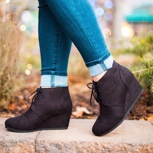 Shoes - Black Lace Up Wedge Heel Booties